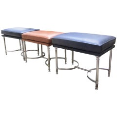 Three Chrome and Leather Benches Attributed to Maison Jansen