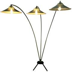 Modernist Triple Arced Metal Floor Lamp.Manner of Mathieu Mategot