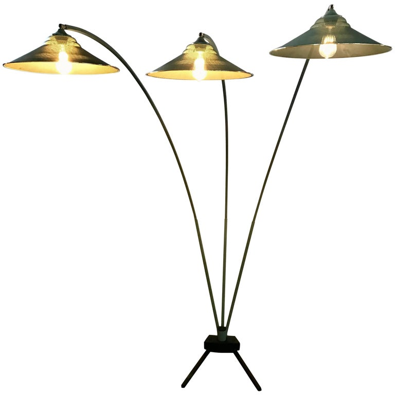 Modernist Triple Arced Metal Floor Lamp.Manner of Mathieu Mategot