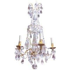 French 19th Century Louis XVI Style Bronze Doré and Crystal Chandelier