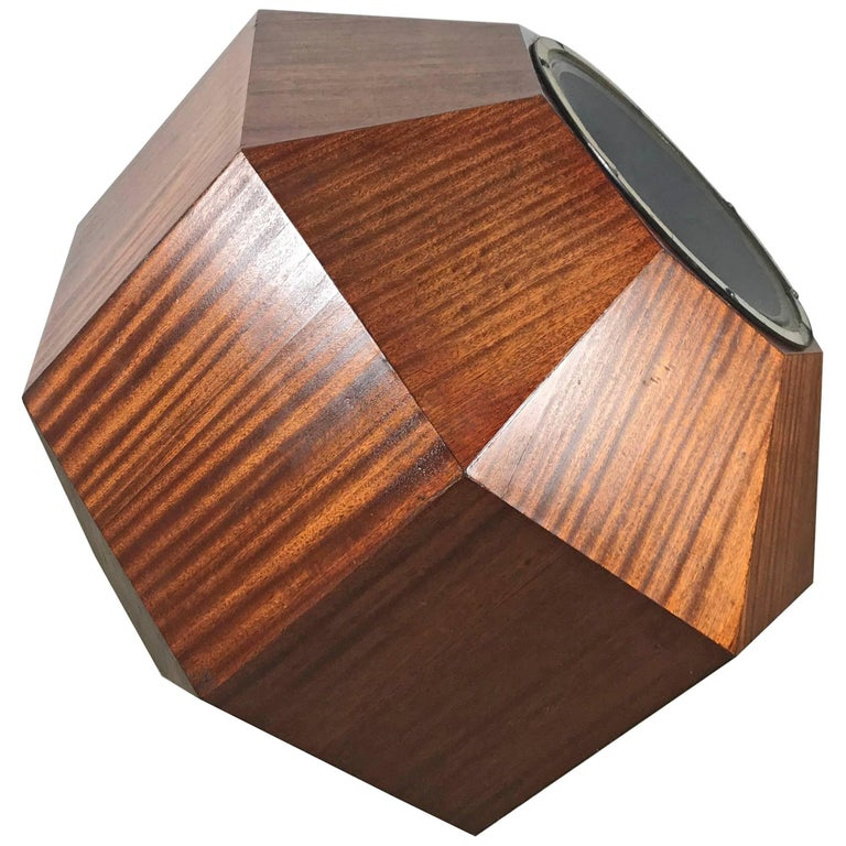 Unusual Oversized Eight-Sided Ribbon Mahogany Speaker, Space Age Sculpture