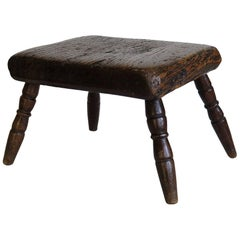 Georgian Candle Stand or Country Stool Elm Top and Fruitwood Legs, circa 1790