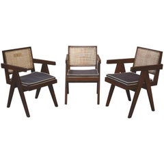 Pierre Jeanneret, Rare Set of Three Office Chairs