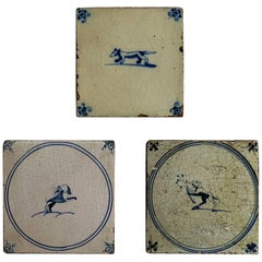 Three 18th Century Delft Blue and White Ceramic Wall Tiles, Dog Patterns