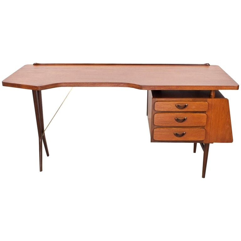 Mid-Century Modern Dutch Writing Desk in Teak by Louis Van Teeffelen, 1950s For Sale