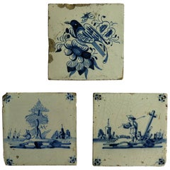 Three 18th Century Delft Blue and White Ceramic Wall Tiles, Two Views and Bird