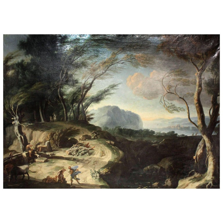 Circle of Salvator Rosa, 1615-1673, Massive Oil on Canvas For Sale