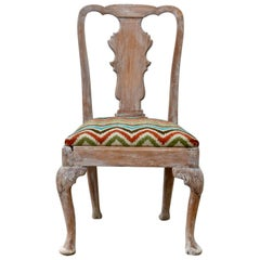 18th Century Queen Anne Side Chair Having a Bleached and Pickled Finish