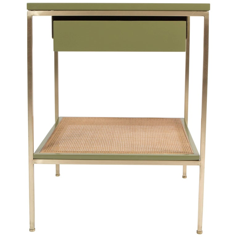 Re: 392 Bedside Table in Serpentine Green on Satin Brass with Cane