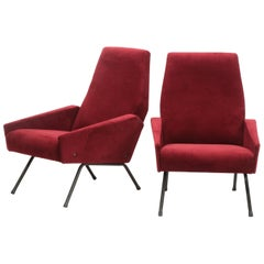 Pair of Gianfranco Frattini Velor Chairs, 1950s