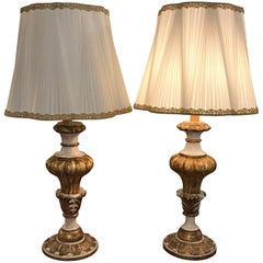 A Pair of Italian Table Lamps 1980s Hand-Sewn Shades and Carved Wooden Bases