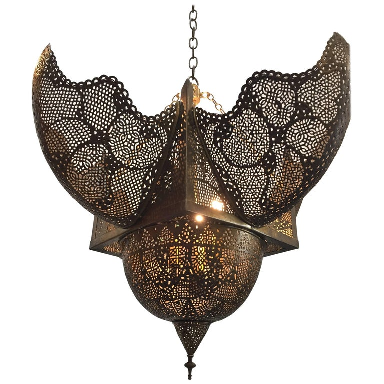 Middle Eastern Large Brass Ottoman Turkish Pierced Hanging Chandelier