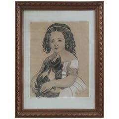 19th Century French Portrait of Young Girl and Dog