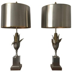 Iconic Pair of Bi-color Corn Lamps by Maison Charles