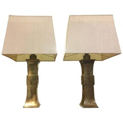 Wonderful French Pair of Huge and Massive Brass Table Lamps with Silk Shades