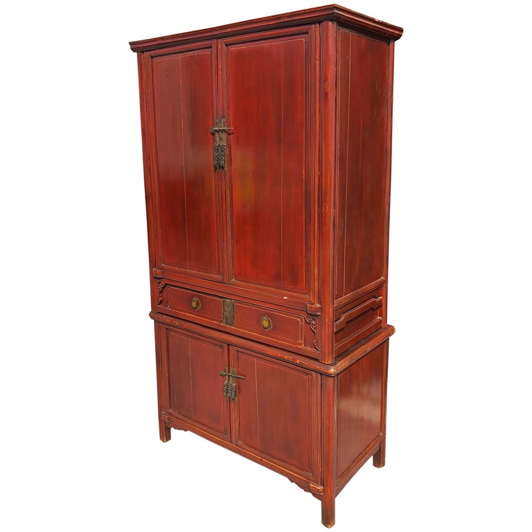 Chinese Tall Red Lacquered Cabinet