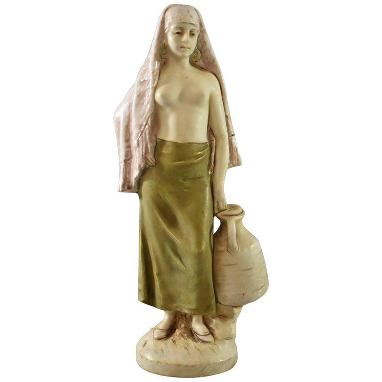Art Nouveau Porcelain Water Carrier Figurine by Royal Dux