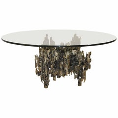 Signed Round Brutalist Coffee Table by Marcello Fantoni