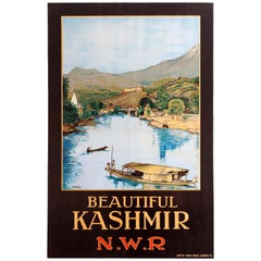 Original Vintage North Western Railway Travel Poster for Beautiful Kashmir N.W.R