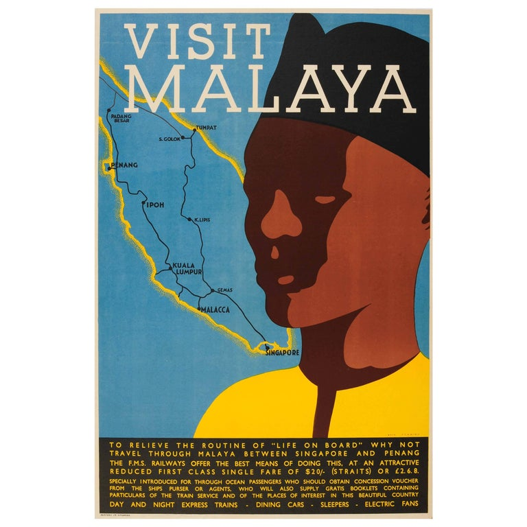 Original fms railways travel poster for malaysia and singapore visit malaya for sale