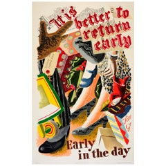 Original 1935 London Underground Transport Poster - It Is Better to Return Early