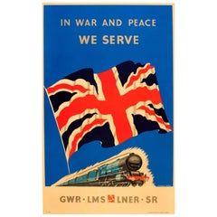 Original WWII Railway Travel Poster - In War and Peace We Serve GWR LMS LNER SR