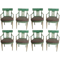 Set of Eight Malachite Painted Dining Chairs by Maitland Smith