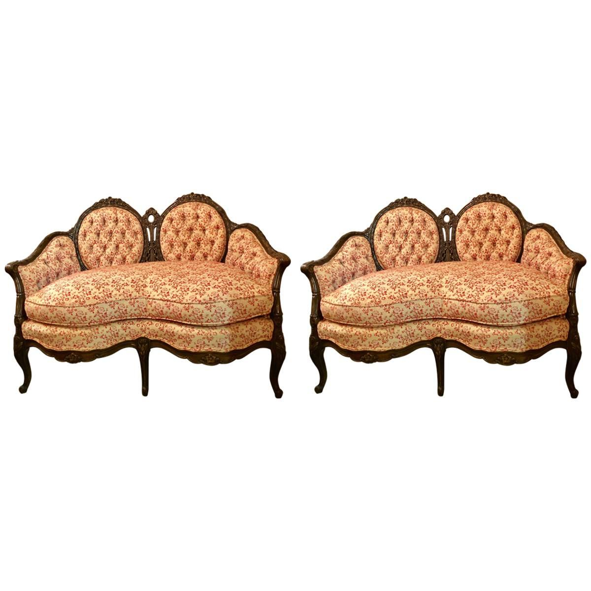 Fine Pair of Louis XV Style Carved Settees or Loveseats