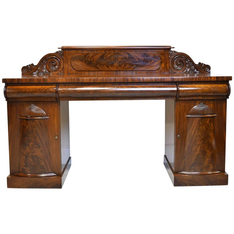English Regency Pedestal Sideboard in Mahogany with Carved Backboard, circa 1830 For Sale