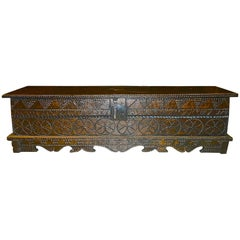 Early 18th Century Carved Oak and Elm Spanish Blanket Chest