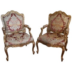 Faux Painted Louis XV Style Armchairs