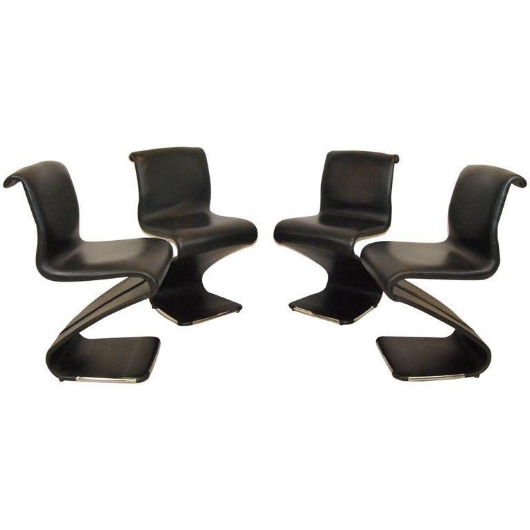"""Set of Four """"Z"""" Chairs by Gastone Rinaldi for Rima"""
