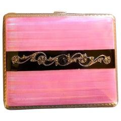 French Silver and Pink Guilloche Enamel Art Deco Cigarette Case