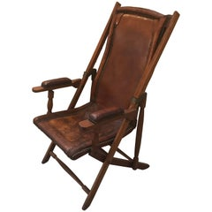 English 19th Century Leather and Mahogany Campaign Chair