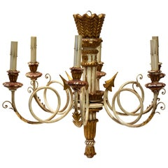 Midcentury Neoclassical Style Italian Giltwood and Painted Chandelier