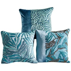 Hand Crafted  Appliqué Pillows Hand Embroidered Abstract Aqua Foliage Design