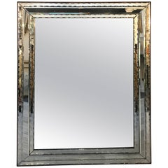 Large Antique Venetian Mirror with Mahogany Trim