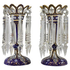 Pair of Cobalt Blue and Gold Moser Bohemian Style Lustre Vases with Crystals