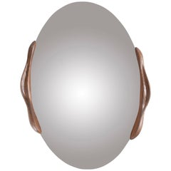 Oval Shaped Mirror with Wooden Frame Stained Rusted Walnut
