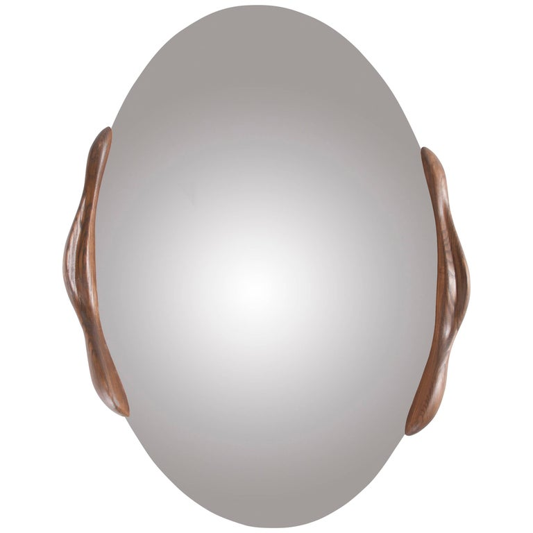 Oval Shaped Mirror with Ash wood Frame - Stained Rusted Walnut