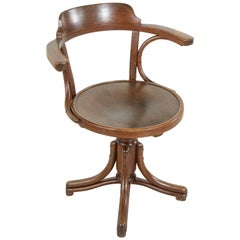 Thonet Bentwood Swiveling Armchair or Desk Chair Stamped Thonet Number 15