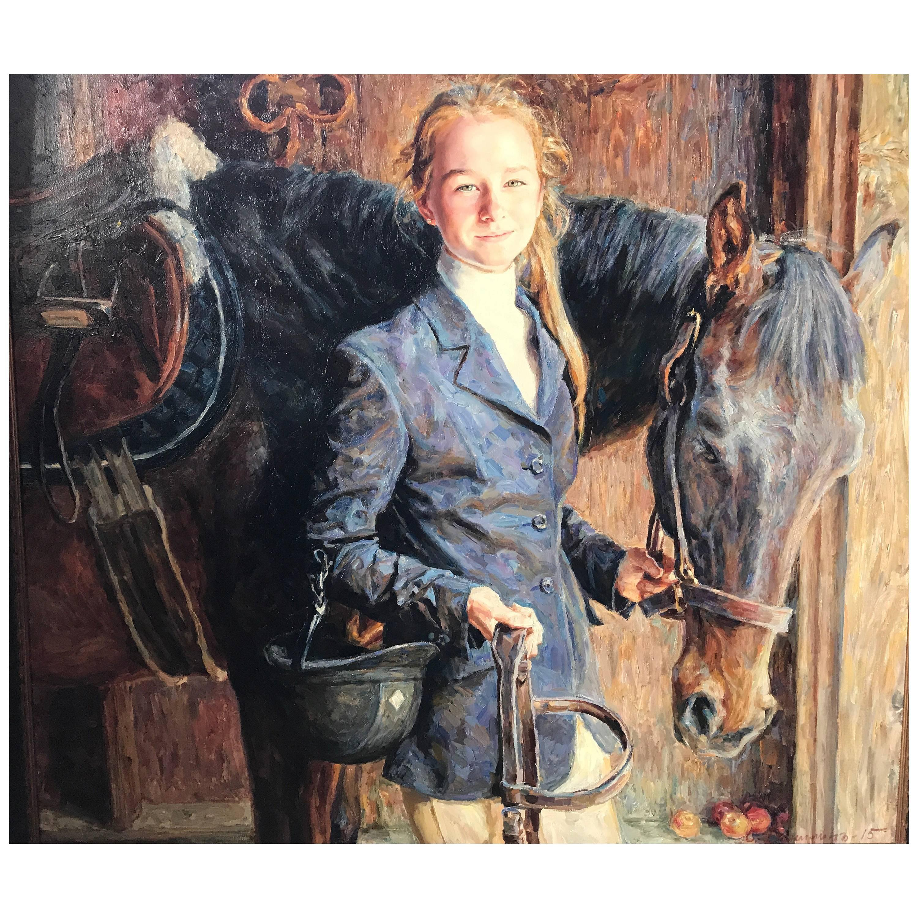 Portrait by Sergei Danilin of Young Girl with Horse