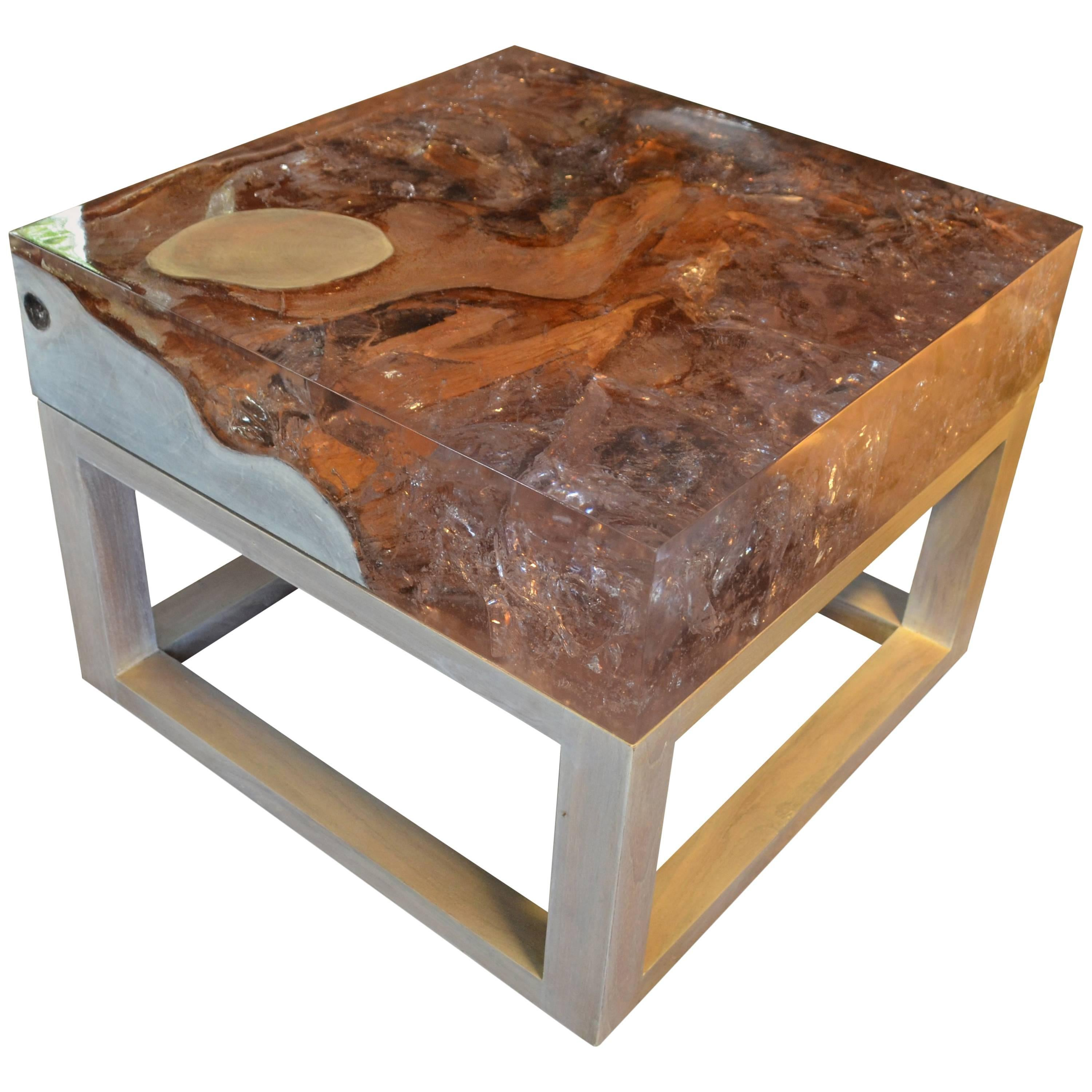 Andrianna Shamaris Cracked Resin Side Table Or Coffee Table For Sale