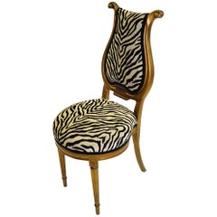 1940s Musical Motif Carved Giltwood Side Chair in Zebra Chenille