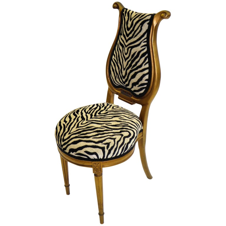 1940s Musical Motif Carved Giltwood Side Chair in Zebra Chenille For Sale