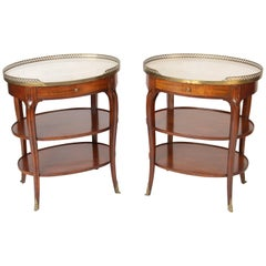 Pair of Louis XV Style Marble-Top Occasional Tables