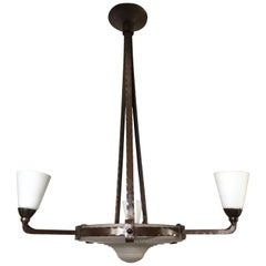 Arts & Crafts Wrought Iron Four-Light Pendant in Style of Raymond Subes