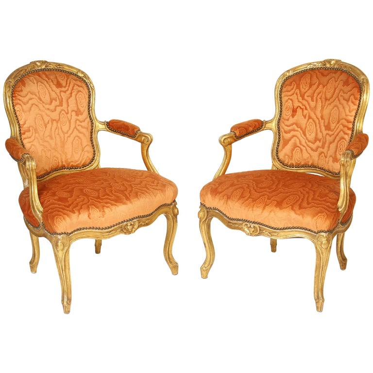 Pair of Louis XV Style Giltwood Armchairs For Sale
