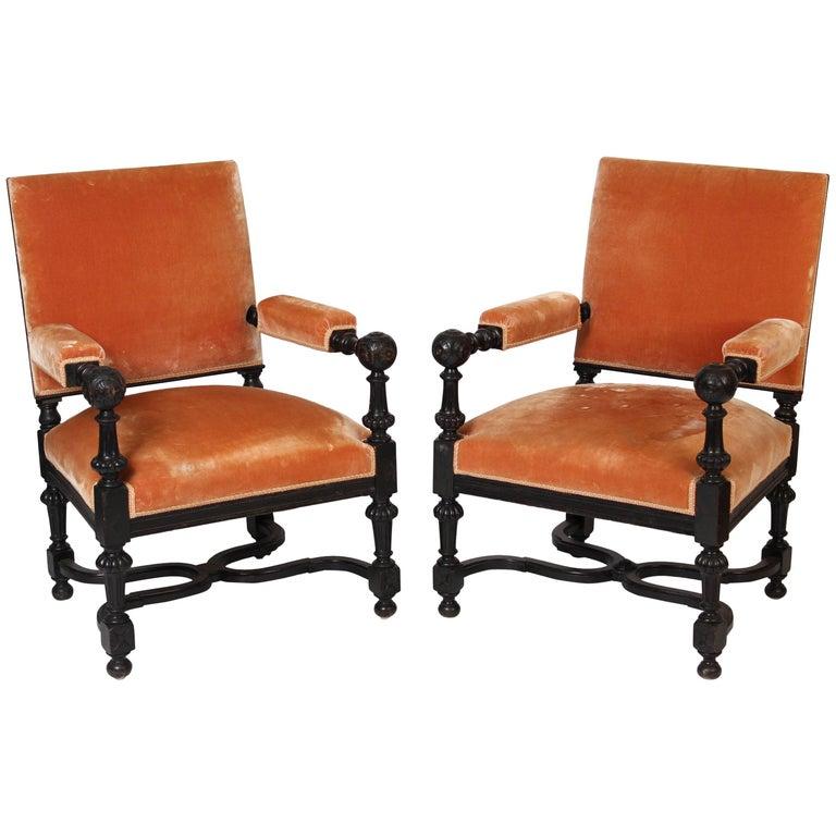 Pair of ebonized Napoleon III Armchairs
