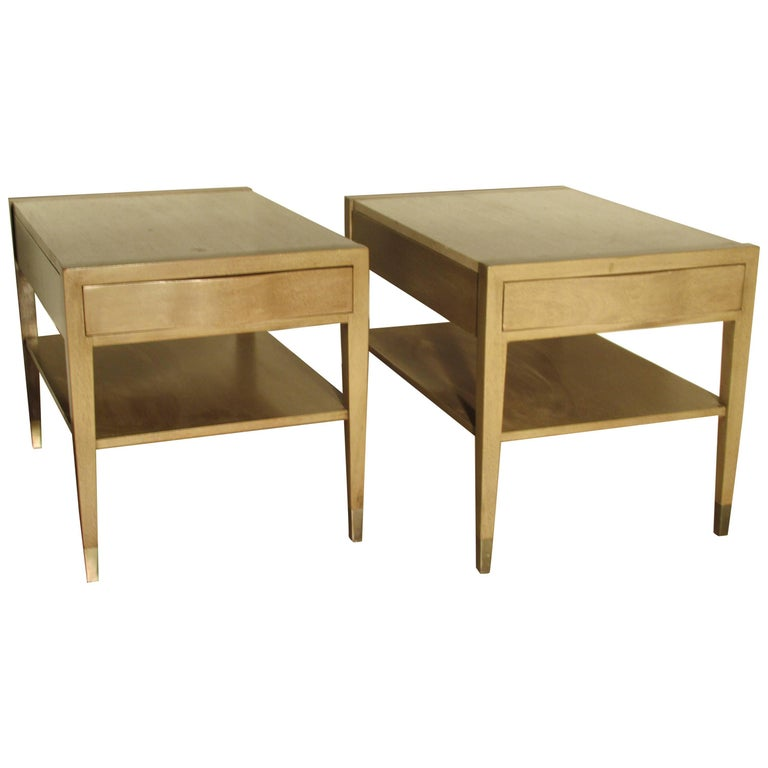 American of Martinsville Travertine Top Pickled Mahogany Tables